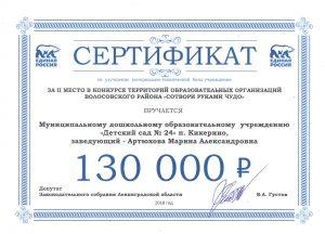 Сертификат 2-е место